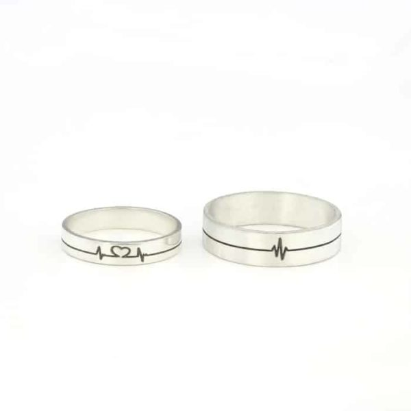 Sterling Silver Promise RIngs His and Hers heartbeat