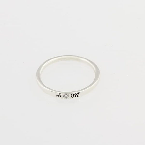 Engraved Identity Diamond Band SIlvery