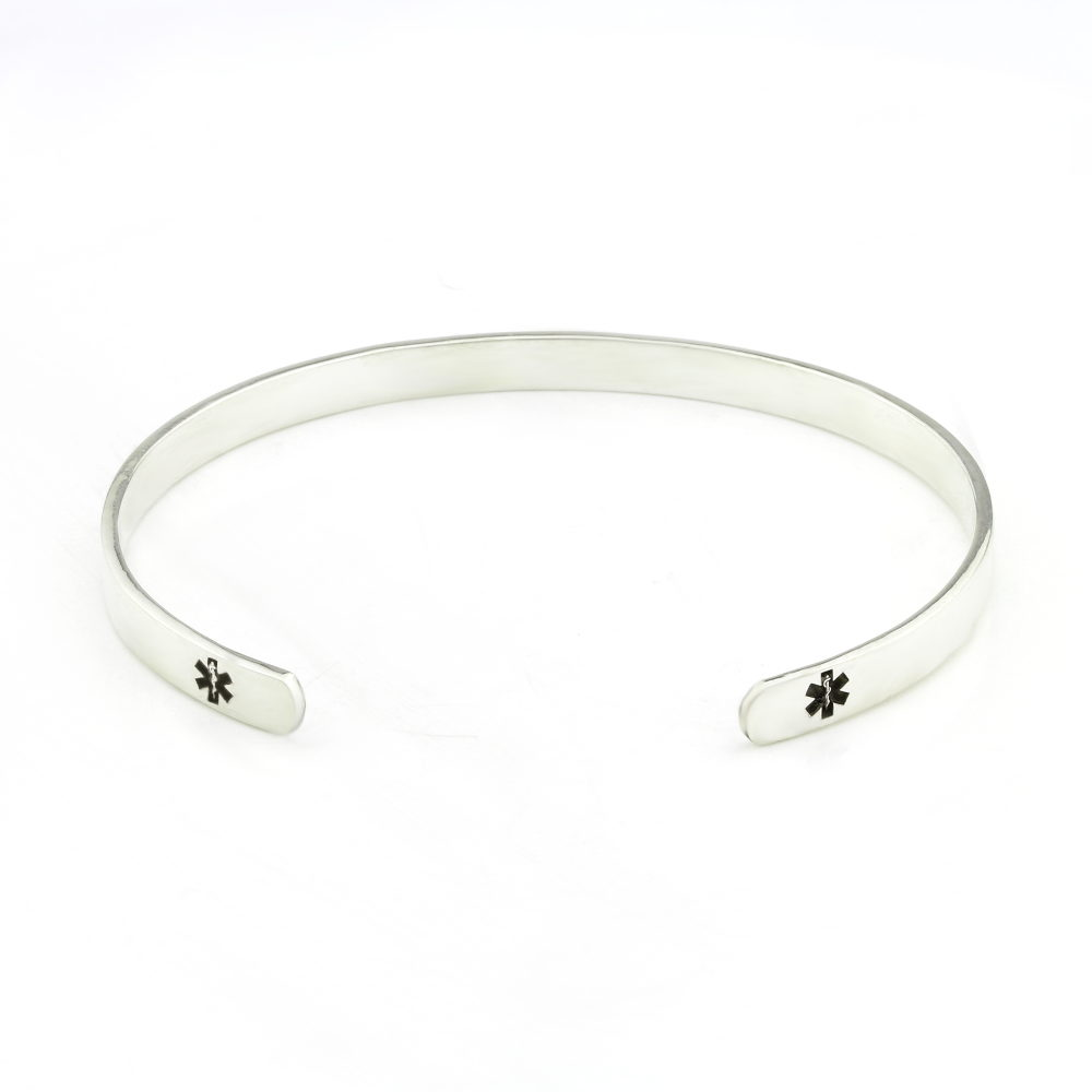 Female Medical Cuff Bangle Durban Silvery