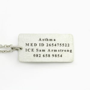 Medical Alert Necklace - Female Durban Silvery