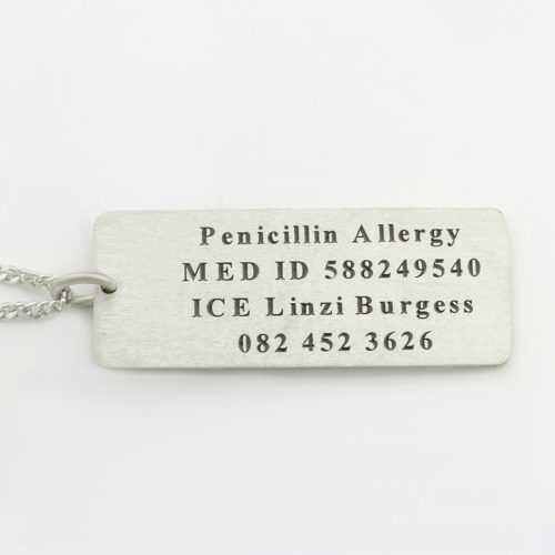 Medical Alert Necklace - Male Durban South Africa Silvery