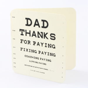 Bamboo Card for Dad Eye test Durban Cards