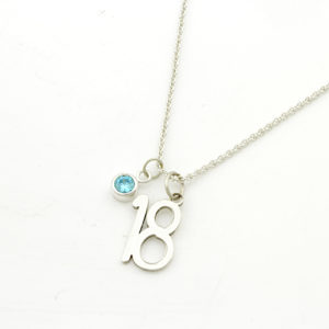 18th Birthday Birthstone Necklace Silvery