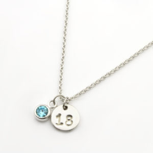 18th Birthday Coiin & Birthstone Necklace Silvery
