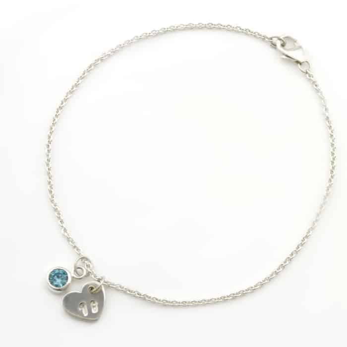 18th Birthday Heart & Birthstone Bracelet Durban