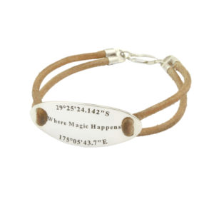 Engraved Oval Leather Bracelet Durban