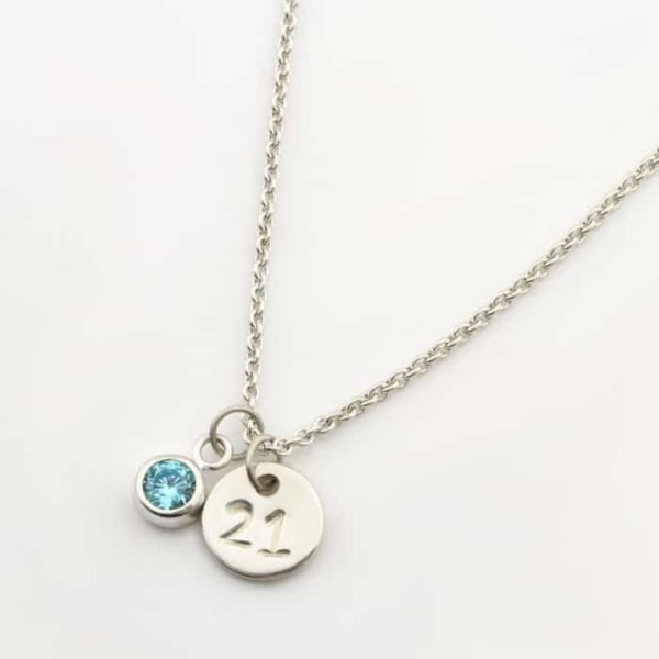 Number Coin & Birthstone Necklace