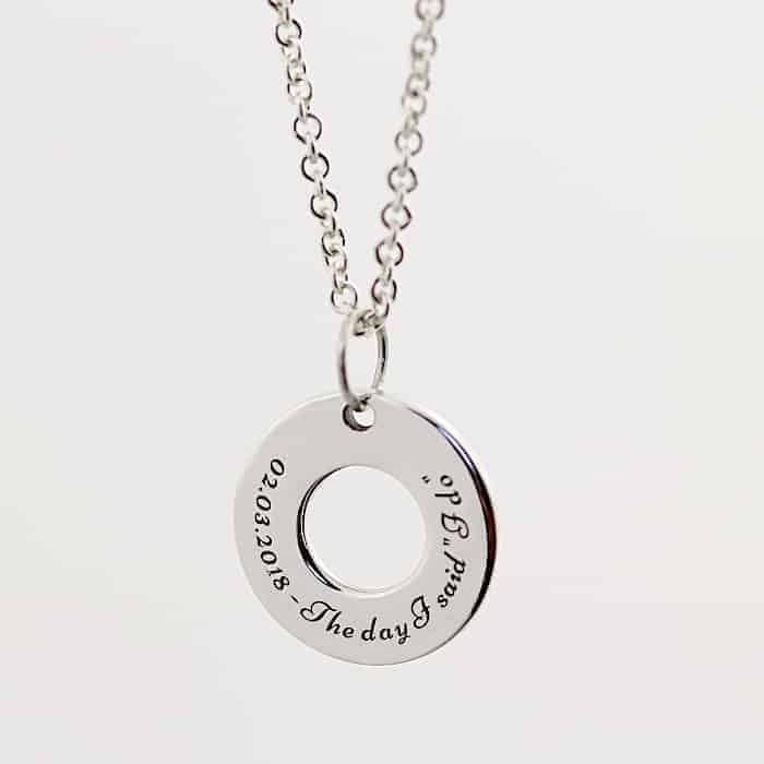 Engraved Washer Necklace