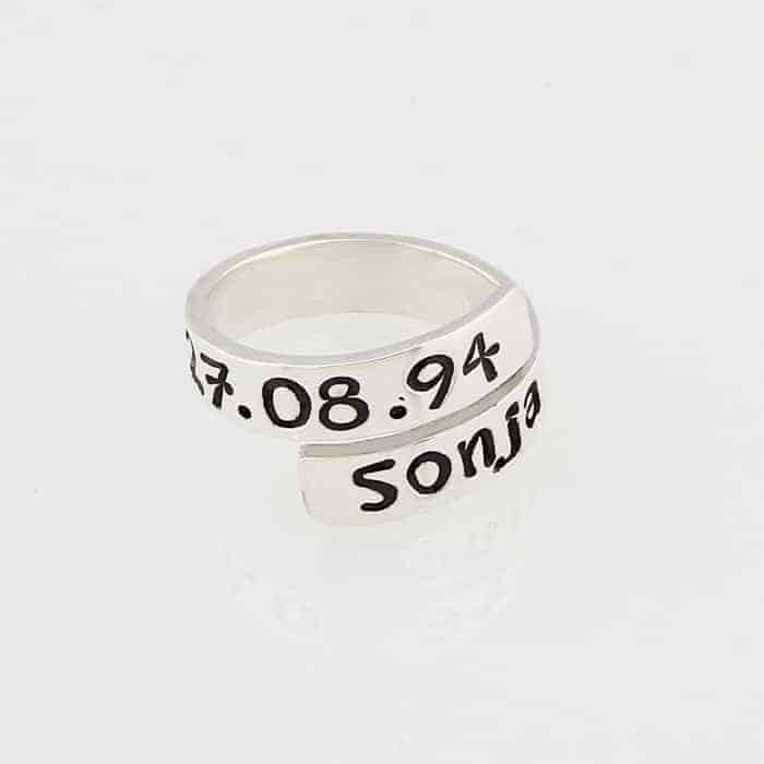 Handstamped Open Identity Ring Silvery