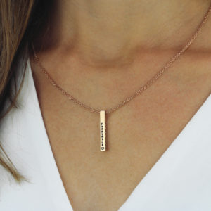 Four Sided Personalised Bar Necklace