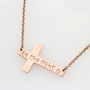 Birthstone & Cross Connector Necklace