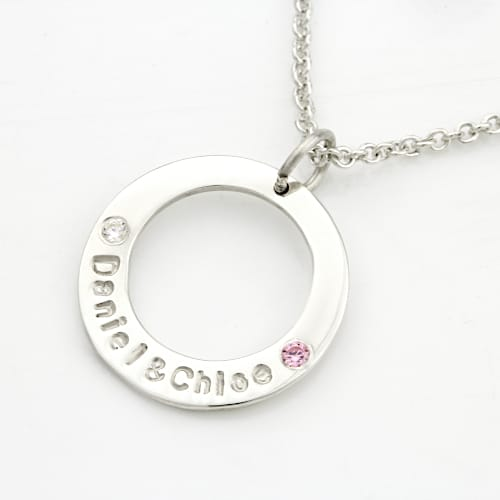 Dainty Birthstones Washer Necklace