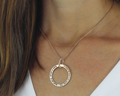 Hand Stamped Unity Hoop Necklace