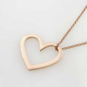 Bold Open Heart Pendant Necklace Silvery