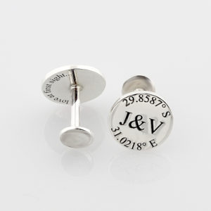 Coordinate and initial flat pin cufflinks Durban