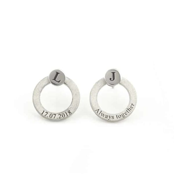 Hoop and stud earrings Silvery