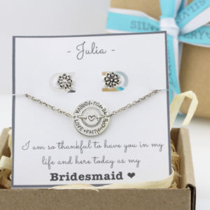 Bridesmaids Package: Memory Keeper Bracelet & Antiqued Flower Stud Earrings Combo