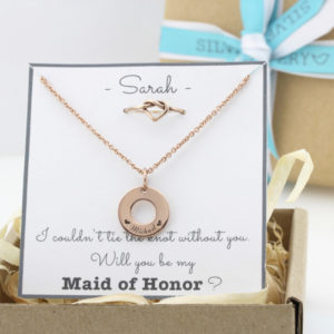 Bridesmaids Package: Engraved Washer Necklace & Heart Knot Ring Combo