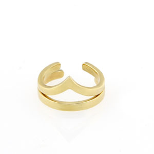 Chevron & Plain Band Toe Ring S