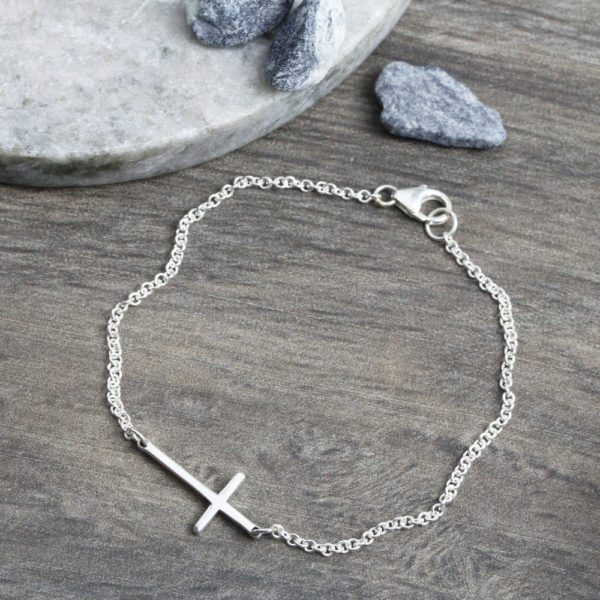 925 Sterling Silver Cross Connector Bracelet
