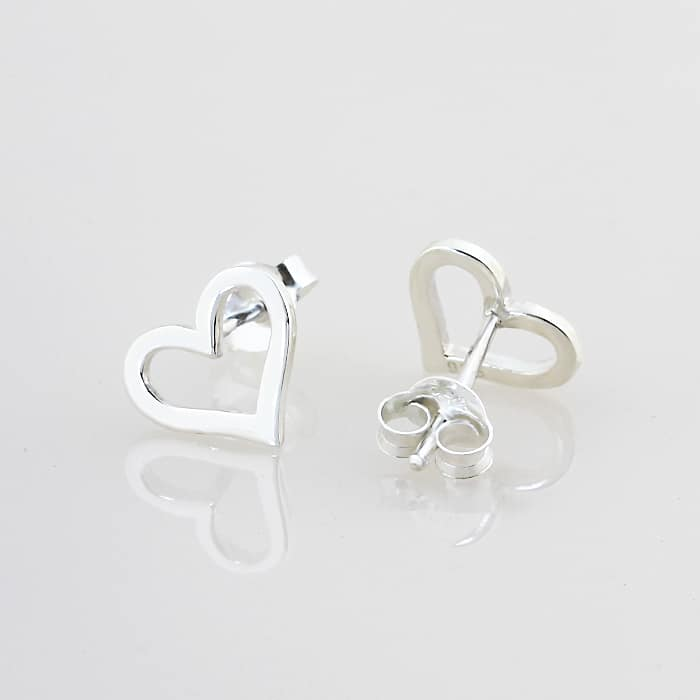 Open Heart Stud Earrings Silvery