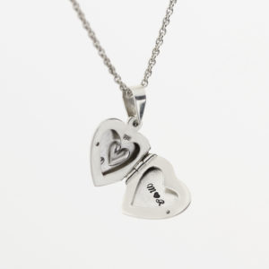 Double Heart Locket Necklace 1
