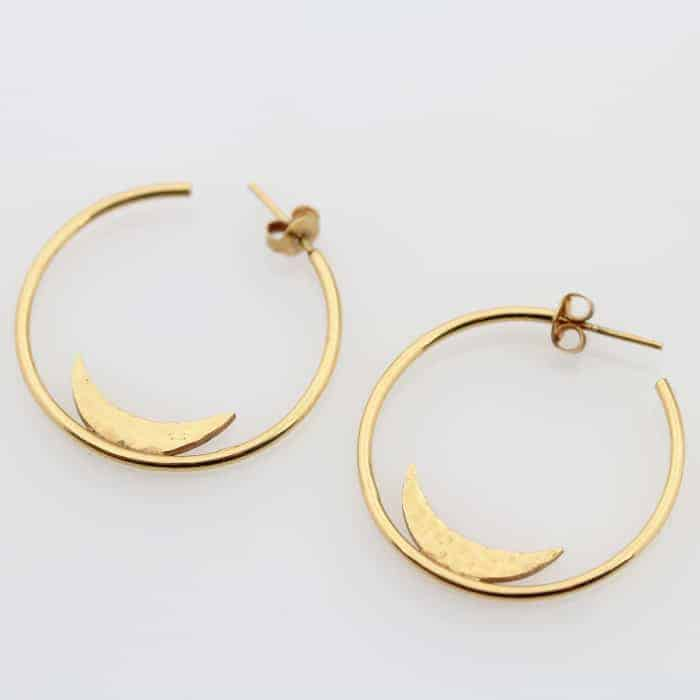 Moon Hoop Earrings 1