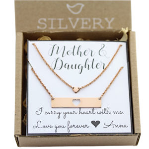 Mother/Daughter Heart Bar Necklace Set/2