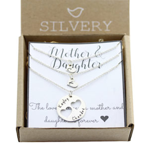 Mother/Daughter Coin Heart Necklace Set/3
