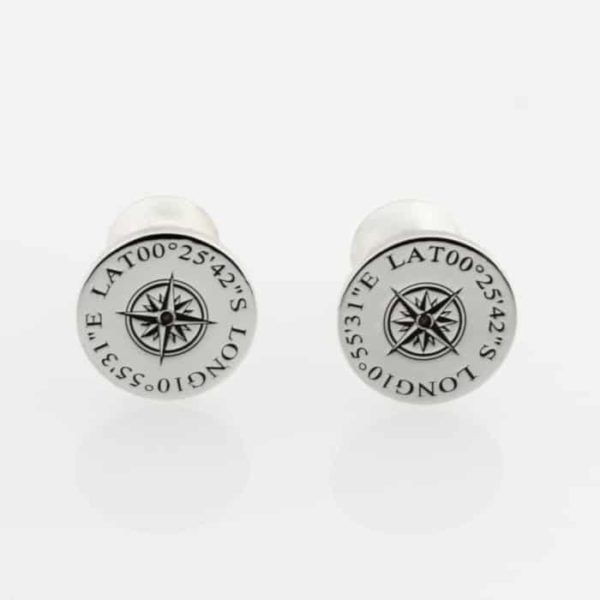 Coordinate Compass Flat Pin Cufflinks