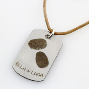 Kids Finger Print Tag Leather Necklace