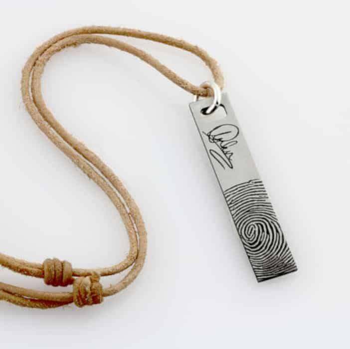 Name Signature Bar Leather Necklace