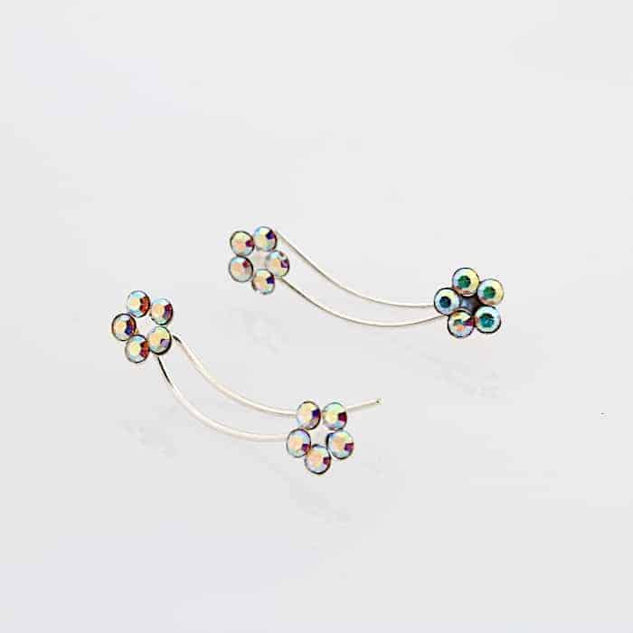 Rainbow Crystal Flower Climber Earrings