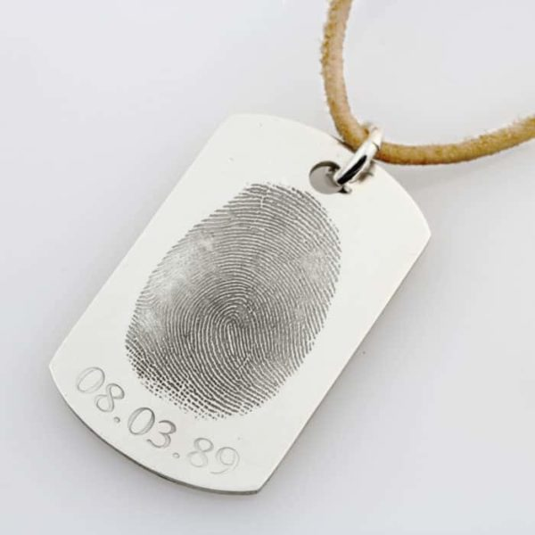 SS Finger Print Identity Tag Leather Necklace