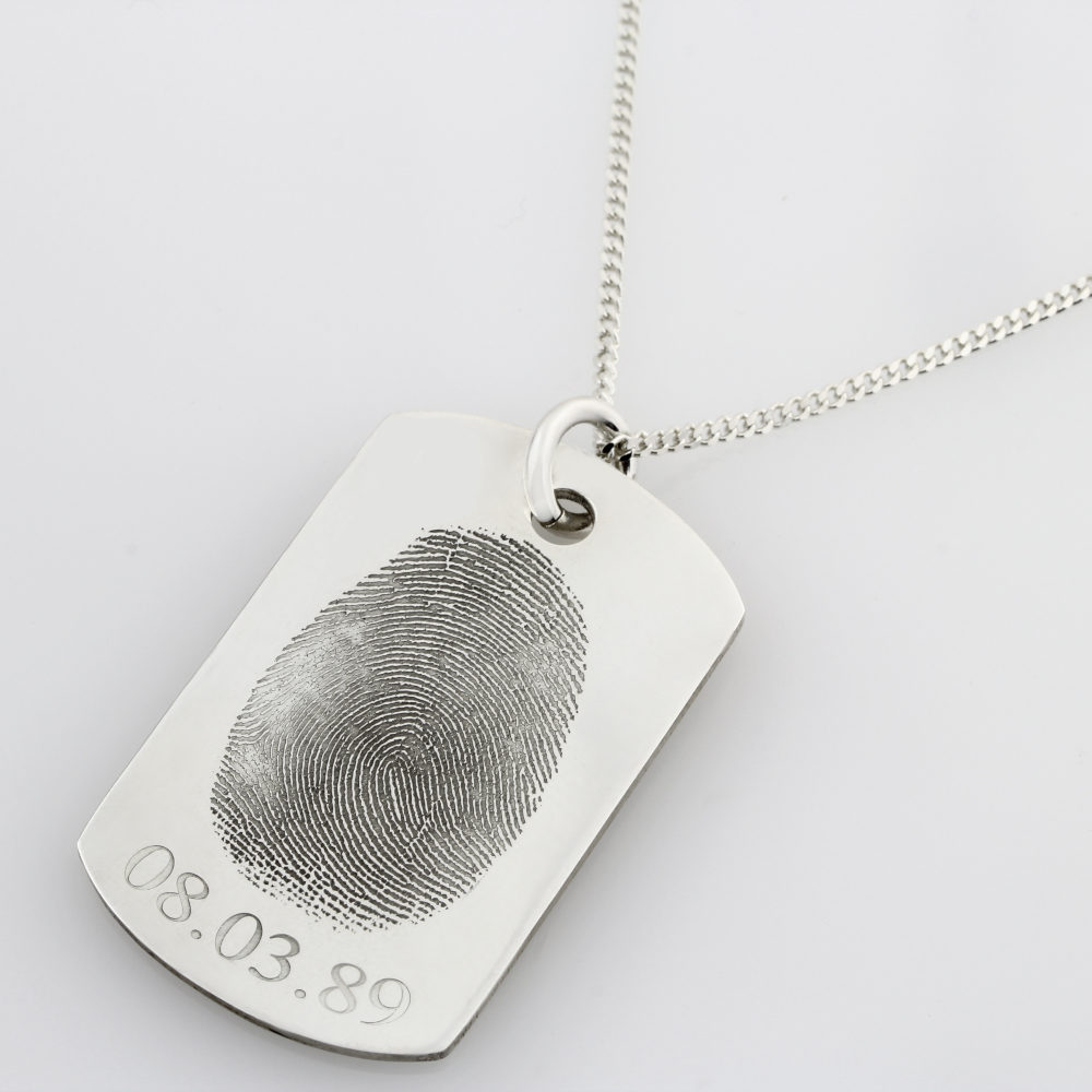 SS Finger Print Identity Tag Necklace