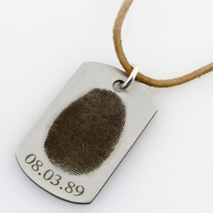 ST Finger Print Identity Tag Leather Necklace