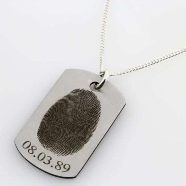 ST Finger Print Identity Tag Necklace