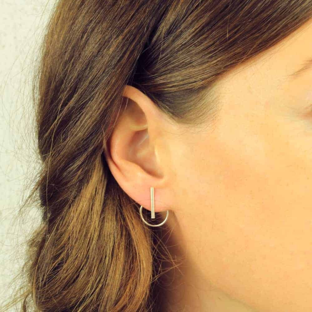 Bar & Circle Jacket Earrings