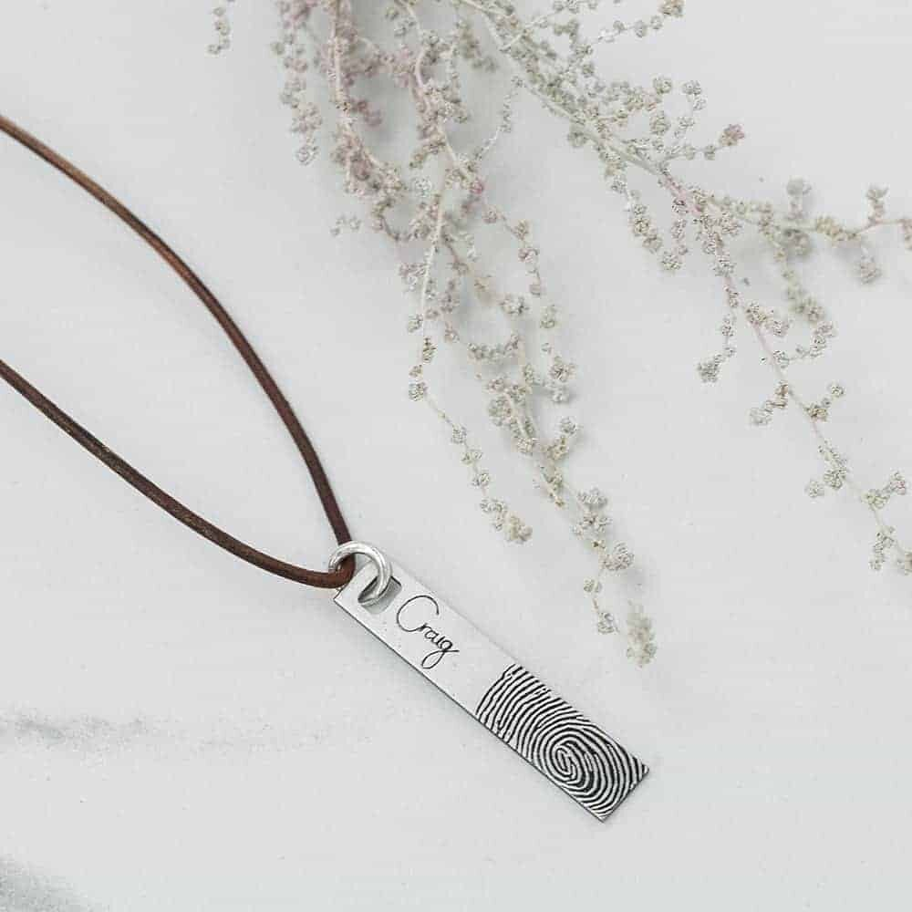 Signature Fingerprint Bar Leather Necklace – Stainless Steel