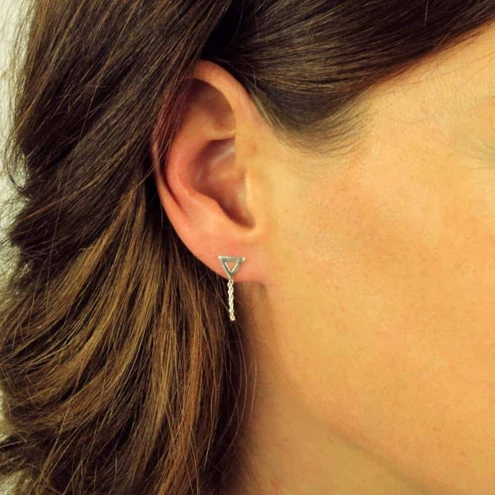 Open Triangle Jacket Earrings