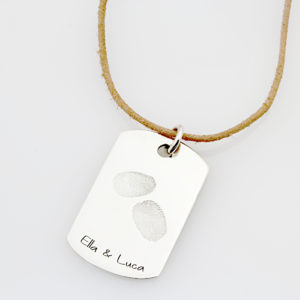SS Kids Finger Print Leather Necklace