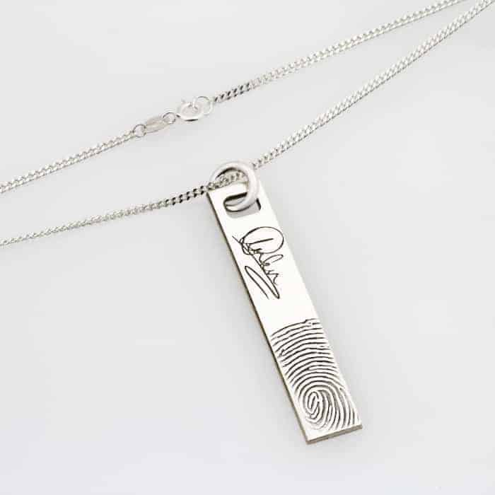SS Signature Bar Finger Print Necklace