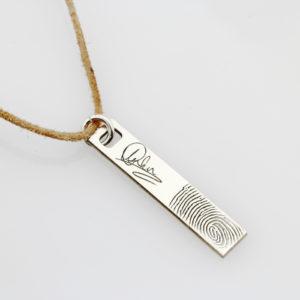 SS Signature Finger Print Bar Leather Necklace