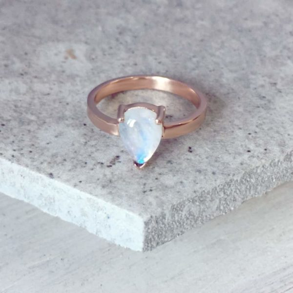 Tear Drop Moonstone Ring