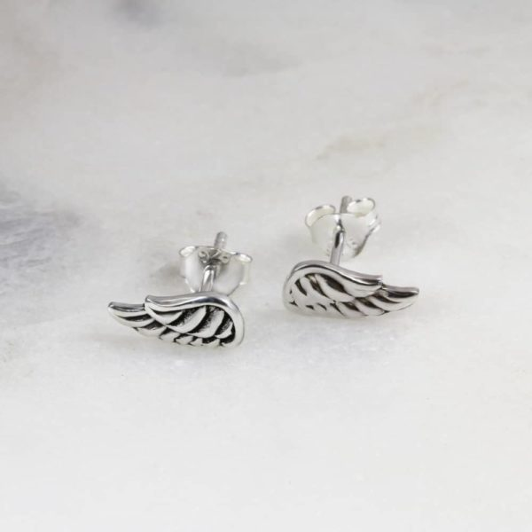 Antiqued Angel Wing Stud Earring