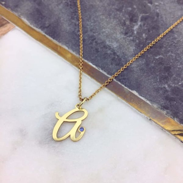Dainty Initial Birthstone Necklace