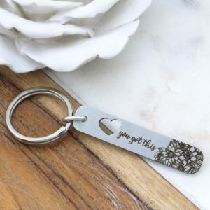 Engraved Flower And Heart Key Ring