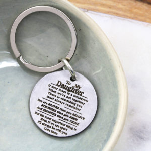 Engraved Message Coin Key Ring