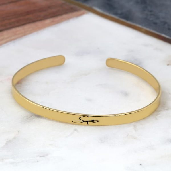 Engraved Signature Cuff Bangle