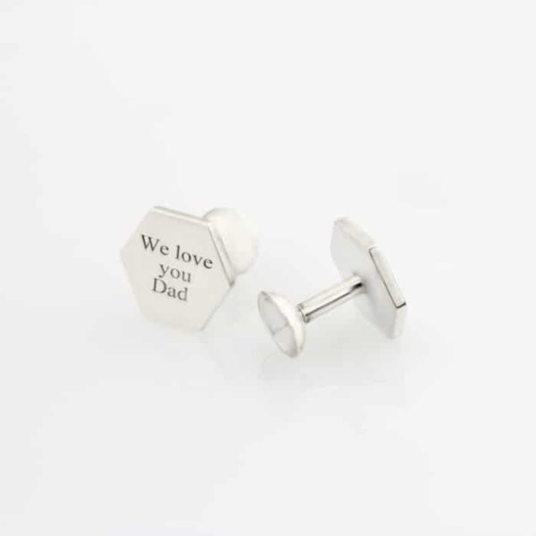 Hexagon Flat Pin Cufflinks